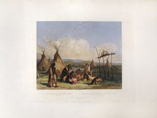 Funeral Scaffold of a Sioux Chief near Fort Pierre. Karl BODMER