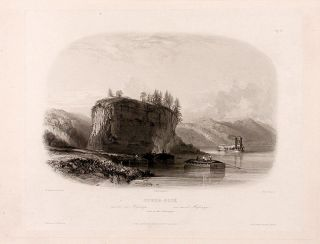 Tower-Rock view on the Mississippi. Karl BODMER