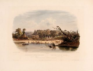 Punka Indians camped on the banks of the Missouri. Karl BODMER
