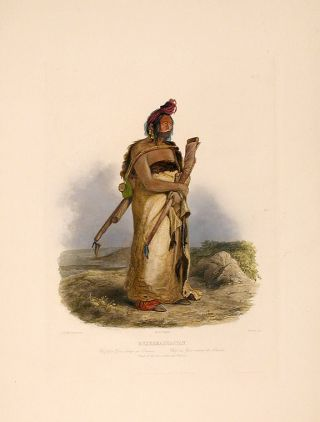Mexkemahuastan. Chief of the Gros-ventres de Prairies. Karl BODMER