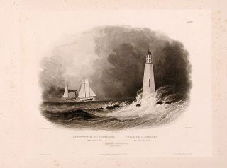 Cleveland Lighthouse on Lake Erie. Karl BODMER