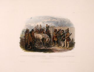 The travelers meeting with the Minatarre Indians. near Fort Clark. Karl BODMER