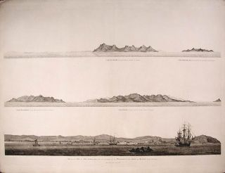 View of the City of Ten-Tchoo from the anchorage of the Hindostan in the Strait of Mi-A-Tau...