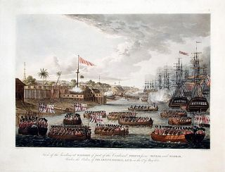 View of the landing at Rangoon of part of the Combined forces from Bengal and Madras, under the Orders of Sir Archd. Campbell, K.C. B. on the 11th of May 1824.