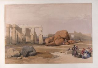 Fragments of the Great Colossi at Memnonium-Thebes. After David ROBERTS