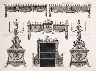 Designs for the Chimney Piece and Curtain Cornice at Sutton Park. After Robert ADAM, d.1794, James ADAM.