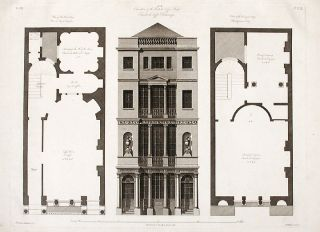 Elevation and Floorplans of the British Coffee House. After Robert ADAM, James ADAM, d.1794