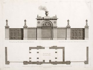 Elevation and Plans of the Gateway and Porter's Lodge of Ashburnham House in Dover Street. After...