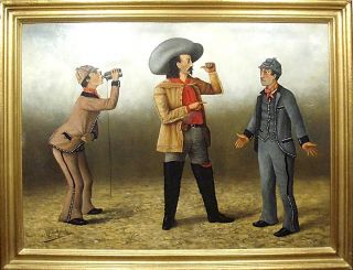 "Buffalo Bill [and the ""Frenchman's Bottle Gag,"" a comic tableau from the wild west show]. Alfred..."