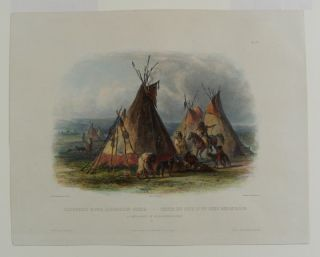 A skin lodge of an Assiniboin chief. Karl BODMER