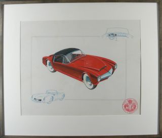 Prototype Sports Car Concept Art. R S. W., fl. Mid-20th century