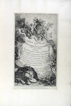 A collection of engravings of cartouches, architectural fantasies and fans, all in a single...