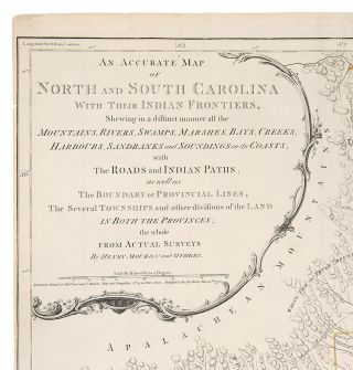 An Accurate Map of North and South Carolina, with their Indian Frontiers, Shewing in a distinct manner all the Mountains, Rivers, Swamps, Marshes, Bays, Creeks, Harbours, Sandbanks and Soundings on the Coasts, with the Roads and Indian Paths as well as the Boundary or Provincial Lines, the Several Townships and other divisions of the land in both the Provinces; the whole from Actual Surveys by Henry Mouzon and others.