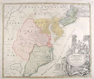 Virginia, Marylandia et Carolina in America Septentrionali Britannorum. Johann Baptist HOMANN