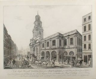 [Pair of Prints] To the Right honorable William Pitt ... this Accurate Perspective View of the Outside [.... this Accurate Perspective View of Inside] of the Royal Exchange, in London, is ... Dedicated, by ... J. Chapman