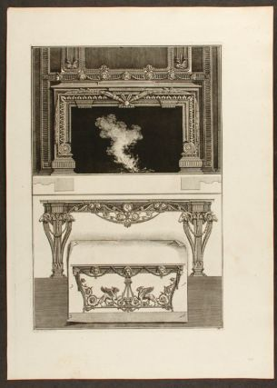 "Plate of neo-Classical designs for one fireplace and two console tables, from ""Diverse maniere..."