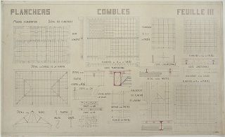 Original detailed architectural technical-drawing of the construction of archways, titled...