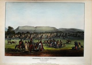 Encampment of the Piekann Indians, near Fort McKenzie on the Muscleshell River. Thomas L....