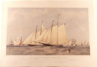 Anglo-American Atlantic yacht race of 1870. Start of the Yachts Dauntless and Cambria from...