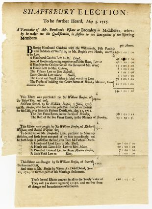 Shaftsbury Election: to be further Heard, May 3. 1715. A Particular of Mr. Benson's Estate at...