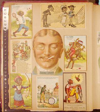 A scrap album containing an exceptional collection of American advertising and trade cards