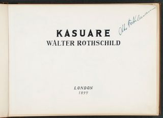 """An album of original watercolour drawings of Cassowaries, with related manuscript title """"Kasuare / Walter Rothschild"""""""