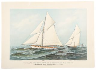 """Vigilant & Valkyrie in a 'Thrash to Windward'"" CURRIER, IVES"