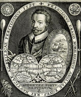 Engraved portrait of Francis Drake]. Francis DRAKE, Crispin van de Passe, the Elder