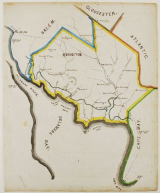 An untitled manuscript map of Cumberland County, New Jersey, and the surrounding area. New...