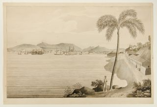 [A series of watercolour views in Brazil and Chile, accomplished by an American naval officer, including two views of Rio de Janeiro, a two-sheet view of Valparaiso and two unidentified views of the South American coast]