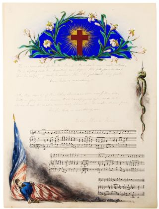Autograph manuscript signed, the complete five stanzas of the Battle Hymn of the Republic, illuminated by Charles M. Jenckes in watercolour and gouache.