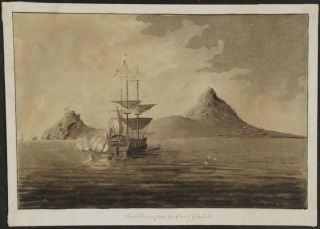 An original drawing with a Royal Navy warship firing her cannon out to sea, titled 'Pigeon Island...
