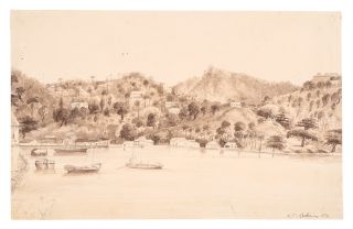 [Grenada] Original signed pencil and wash drawing of The Carenage, St. George's, Grenada. Walford...