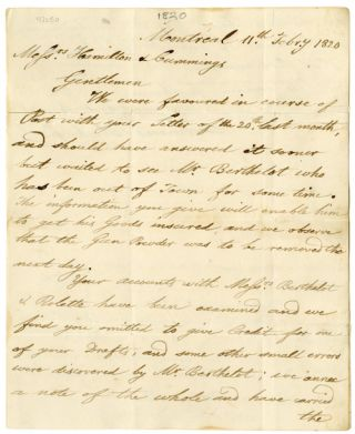 Autograph Letter from the Montreal Firm of Desrivieres, Blackwood & Co. to the Queenstown Firm of...