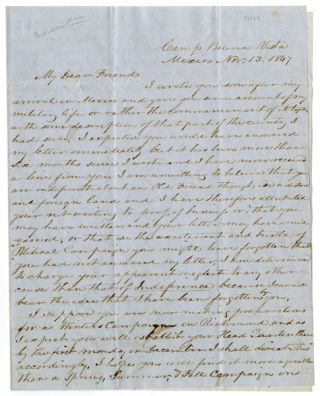 Autograph letter, signed, from a soldier to a friend in politics, discussing pay for Virginia's...