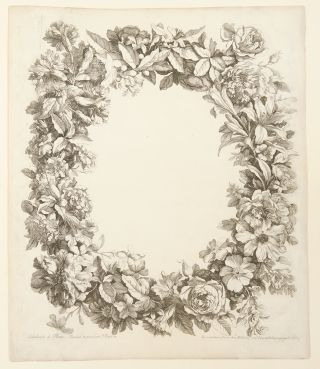 Album of 17 engraved plates of bouquets of flowers in vases, baskets or garlands from:] [Livre de...