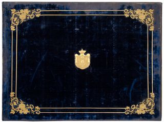 A blue velvet covered and parcel-gilt portfolio case. Russian BINDING