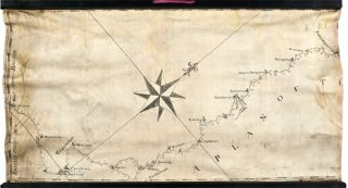 Manuscript map on vellum surveying the road from Boston to Penobscot Bay, Maine, titled on the...