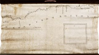 [Manuscript map on vellum surveying the road from Boston to Penobscot Bay, Maine, titled on the map:] A Plan of the Road From Boston to Penobscott Bay