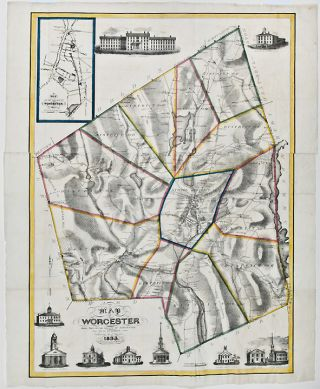A Map of Worcester Shire Town of the County of Worcester. Heman S. STEBBINS