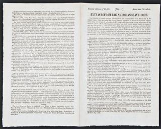 Extracts from the American Slave Code [caption title]. SLAVERY