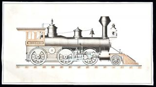 Steam Locomotive] An original ink and watercolour drawing of an American steam locomotive. G. H....