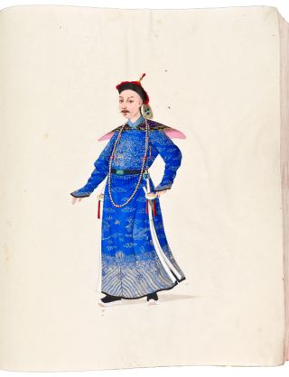 Album of exceptional watercolours of members of the Chinese court and of various tradesmen and...