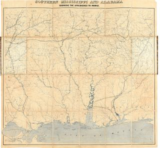 Southern Mississippi and Alabama Showing the Approaches to Mobile. CIVIL WAR, Joseph Corson - READ.
