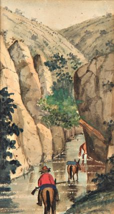 [Collection of five original watercolors of Pima Indians and their lands in Aravaipa Canyon, Arizona, made by Forty-niner Robert Hart on his journey to the California gold fields]