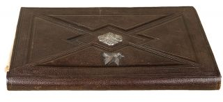 French morocco wallet-style secretary binding with silver clasp]. BINDING