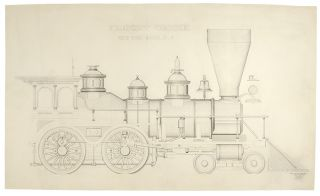 Freight Engine. New York & Erie R.R. An original drawing. Theodore KRAUSCH, 19th century