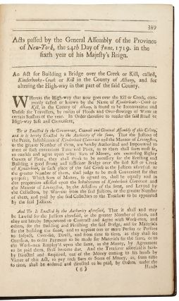 [Collection of 18 separately-printed session laws of the General Assembly of the Province of New-York, all published by William Bradford]