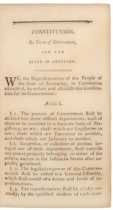 Laws of Kentucky; comprehending those of a general nature now in force; and which have been acted on by the legislature thereof. Together with a copious index and a list of local or private acts...to which is prefixed the Constitution of the United States with the Amendments, the Act of Separation from the State of Virginia, and the Constitution of Kentucky ... [With:] Laws of Kentucky ... Vol. II ... [With:] Laws of Kentucky ... Vol. III