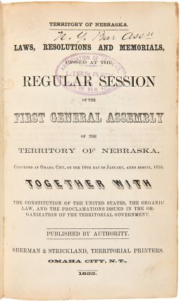 Laws, Resolutions and Memorials Passed by the General Assembly of the Territory of Nebraska]....